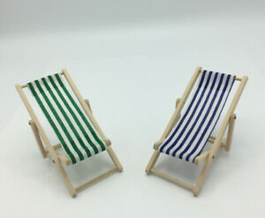 Pair Of Dolls House Deck Chairs