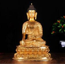 """13"""" Tibet Tibetan Buddhism copper gilt hand painting Shakya Muni Buddha statue"""