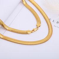 Men Women's 18K Yellow Gold Filled Snake Chain Choker Necklace Jewelry 16''-30''