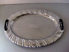 Stainless 4-man Serving Platter/Tray w/ Bakelite Handle & Etched Floral Pattern