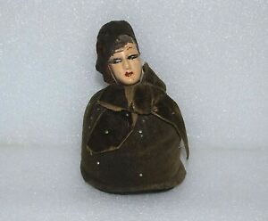 ANTIQUE 1920's SEWING Chalkware Art Deco French Artist VTG HALF DOLL PINCUSHION