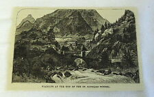 small 1882 magazine engraving ~ VIADUCTS OF ST GOTTHARD TUNNEL, Switzerland