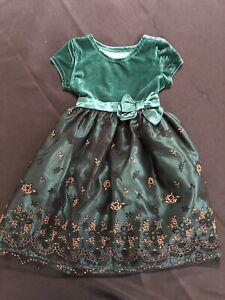 Nannette Kids Girls 6X Green Velvet Top Layered Bottom Christmas Holiday Dress