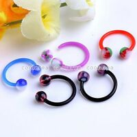 10x Mixed Colorful UV Round Ball 16g Barbell Hoop Nose Horseshoe Rings Piercing