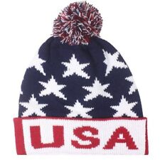 Team USA American Flag POM KNIT Beanie RED Hat Winter Olympics STARS AND STRIPES
