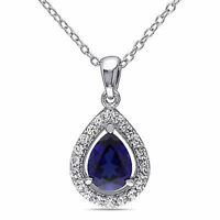 "Sterling Silver 2 1/5 CT Blue and White Sapphire Pendant Drop Necklace 18"" Chain"