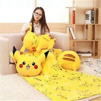 Pikachu Pillow Cushion With Blanket Anime Plush Toy Cartoon Blanket  Xmas gift