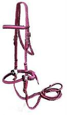 Showman PINK & BLACK Braided Nylon Bitless Bridle w/ Reins!! NEW HORSE TACK!!
