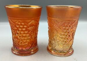 """CARNIVAL PAIR OF NORTHWOOD MARIGOLD GRAPE ARBOR TUMBLERS """"FILL OUT YOUR SET"""""""
