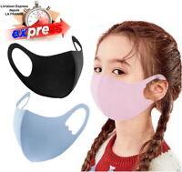 5 / 10 Masques Enfants Bleu Noir  Rose Protection Respirant Tissu Lavable  Sport