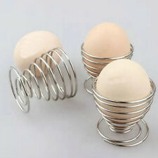 2X Metal Egg Cup Spiral Kitchen  Breakfast Hard Boiled Spring Holder Egg Cup FB