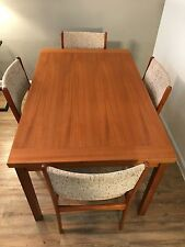 Danish Modern Teak Draw Leaf Dining Table and Four Chairs (1960's - 70's)