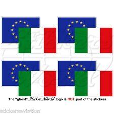 "EUROPEAN UNION-ITALY Flag Pair EU-IT Europe-Italian 50mm (2"") Stickers Decals x4"