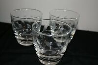 Three Vintage Etched Wine Rocks Whiskey Glasses Stems w/ Leaves Modern Look