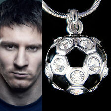 w Swarovski Crystal Black ~3D Football Soccer Ball Pendant Charm Necklace Unisex