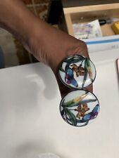 "Anthropologie Porcelain Flower Butterfly Drawer Pull Cabinet Knob 1 7/8"" Floral"