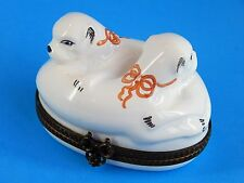 Limoges Hand Painted Hinged Trinket Box, Bonbonniere - Two Pug Dogs