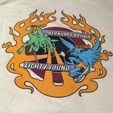 Vintage! Bernhard-Brown Lighting & Sound Tan Graphic SS Tee Shirt sz L  FS