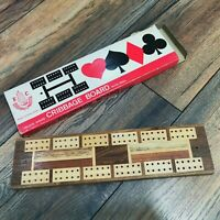 Vintage Inlaid Wood Cribbage Board with 4 Pegs Original Box