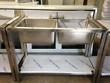 Commercial Catering Kitchen Stainless steel Sink, Double bowl sink, 1200x600 4ft