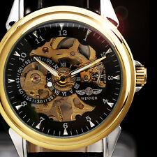 WINNER New Unisex Skeleton Mechanical Wrist Watch Men Women Leather Band Relogio