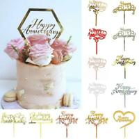 Cake Decoration Acrylic Happy Anniversary Cake Topper Gold / Rose Gold