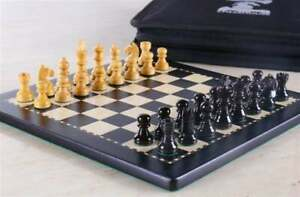Wooden 8*8 Inch Black Magnetic MDF Laminated Flat Travel Chess Board With Bag.