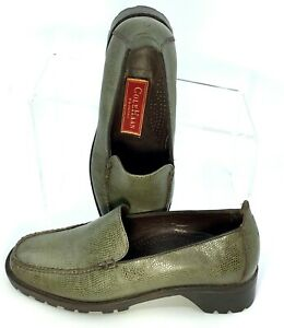 Cole Haan Country Loafer Women's 6.5 B Green Leather Lizard Slip On Shoes Brazil
