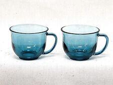 Large 16 Ounce Smoky Blue Glass Coffee Mugs Set of Two