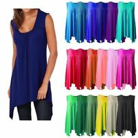 Womens Ladies Ruched Gathering Slouch Fit Hanky Hem Vest Flared Swing Long Top
