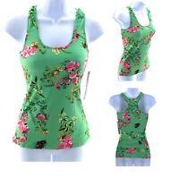 Hot Kiss Juniors Floral Stretch Tank Top Green Floral Sleeveless Casual Shirt