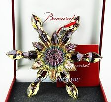 BACCARAT IRIDESCENT NOEL SNOWFLAKE ORNAMENT YELLOW CRYSTAL SIGNED NEW BOXED