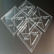 """Set of 9 Diamond Quilting templates with 6mm seamline, 2"""" upto 10"""" sizes   OFFER"""