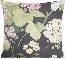 Penrose Cushion Cover Roses Nina Campbell Cotton Printed Fabric Green Pink
