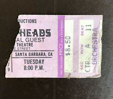 Talking Heads Concert Ticket Stub 1979 Arlington Theatre Santa Barbara Ca