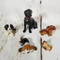 Hagen Renaker Ceramic Dog Figurine Lot Of 5 Black Lab Beagle Cocker Spaniel