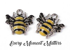 5 x Tibetan Silver & Enamel BEE HONEYBEE BUMBLE BEE 18mm Charms Pendants