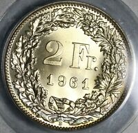 1961 PCGS MS 67 Switzerland 2 Francs Mint State Swiss Coin (20102002C)
