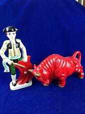 vintage porcelain spanish matador and bull 2pc bull fighting set