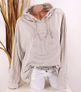 Italy Shirt Sweatshirt Hoodie 40 42 44 beige Kapuze NY 3D Oversize Damen Motiv