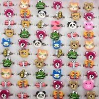 20Stk Kinder Süß Ringe Kinderring Cartoon Ring Geschenk Schmuck Mädchen Ringe