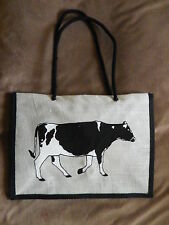 FRIESIAN COW DESIGN JUTE SHOPPING / TOTE BAG. NEW.CRAZY CLEARANCE
