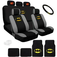 Ultimate Batman Seat Steering Mats & Classic BAM Headrest Cover Set For Chevy
