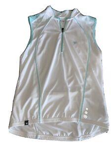 PEARL IZUMI LADIES CYCLING Sleeveless Zipper Top White Mint Green Large Pockets