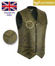 Men Distressed Black Classic Vintage Retro Split Leather Biker Waistcoat Vest