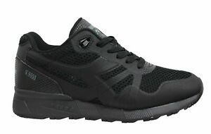Diadora N9000 Moderna BF Black Leather Low Lace Up Mens Running Trainers C0200