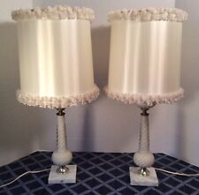 Pair Satin Glass Boudoir/Vanity Lamps~Marble Base & Original Shades~EUC~24""