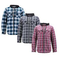 Men's Casual Plaid Flannel Zip Up Hoodie Sherpa Lined Lightweight Sweater Jacket