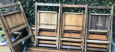 More details for 4  vintage wooden army ops chairs - decor props mancave bar canteen army