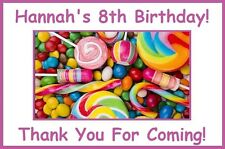 "(9)Personalized Candy Shop Party Theme Stickers,3 1/4"",Birthday Lollipop Labels"